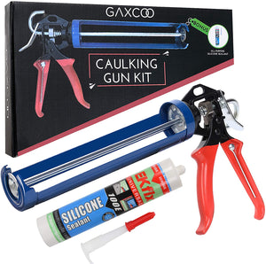 Caulking Gun With Silicone Sealant Kit - Heavy Duty For Repair Calk, Cocking, Wall, Pistola, Tabla, Dripless, Adhesive Steel Construction Manual