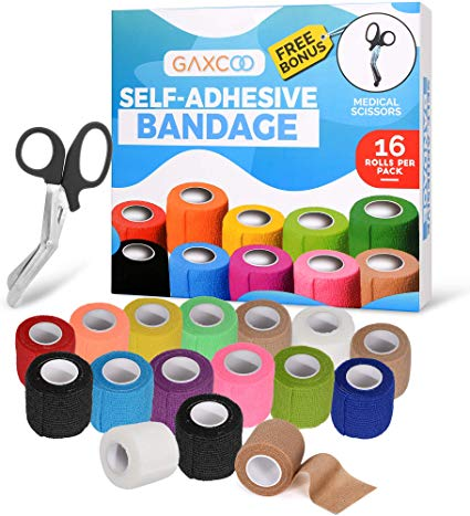 "16-Pack Self Adhesive Bandage Tape Flexible 2"" x 5 Yards 