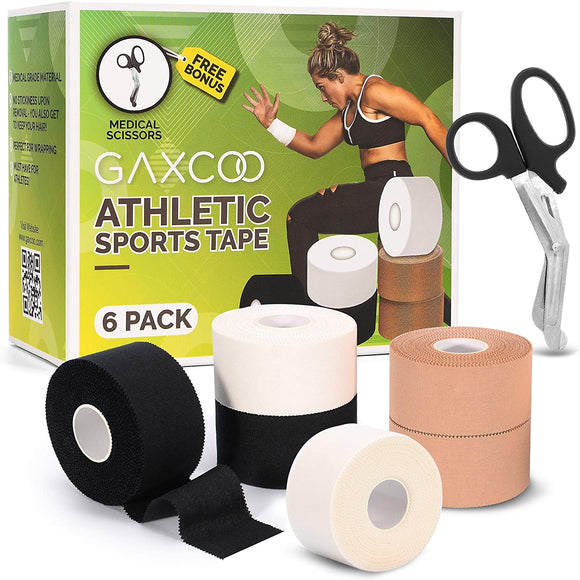 [6 Pack] Athletic Sports Cloth Tape, Strong Adhesion, No Sticky Residue & Easy to Tear, Great for Gymnast, Boxing, Lacrosse, BJJ, Hockey, Batwhite, Black, Tan Colors, Bonus Scissors Included