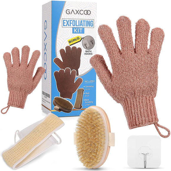 Exfoliating Body Scrub Kit with Exfoliating Gloves, Dry Body Brush, Loofah Back Scrubber Plus Bonus Adhesive Shower Hooks; Deluxe 5 Pc Wet and Dry Brushing Body Exfoliators and Dead Skin Remover Set