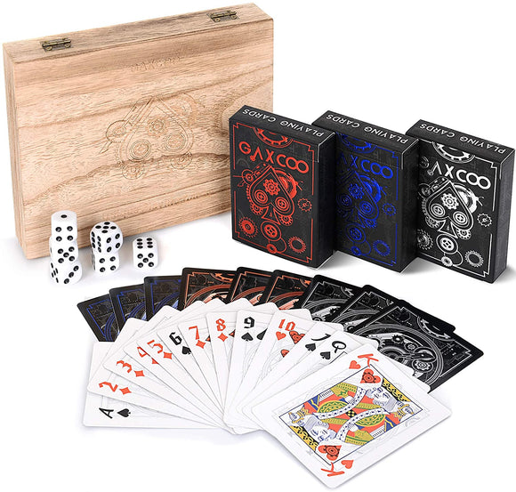 Luxury Set Playing Cards, Premium, Unique Decks, Poker, Games, Custom, Adults, Casino, Standard 3 Decks for Any Occasion Premium Wood Box Included