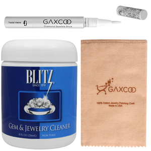 Gaxcoo Blitz 651 Gem & Jewelry Cleaner with Basket & Brush and Pro Polishing Cloth & Stick Jewelry Cleaner