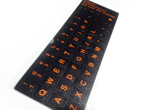 Durable English Replacement Keyboard Stickers (Black w/ Orange Lettering)