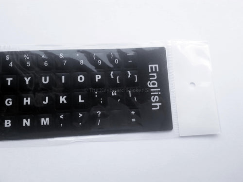 Plain English Durable Keyboard Stickers (Black w/ White Lettering)