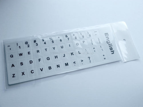 Plain English Durable Keyboard Stickers (White w/ Black Lettering)
