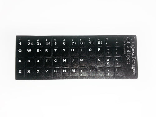 Portuguese Durable Keyboard Stickers (Black w/ White Lettering)