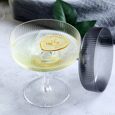 Verre à Cocktail Coupe Carrée Striée