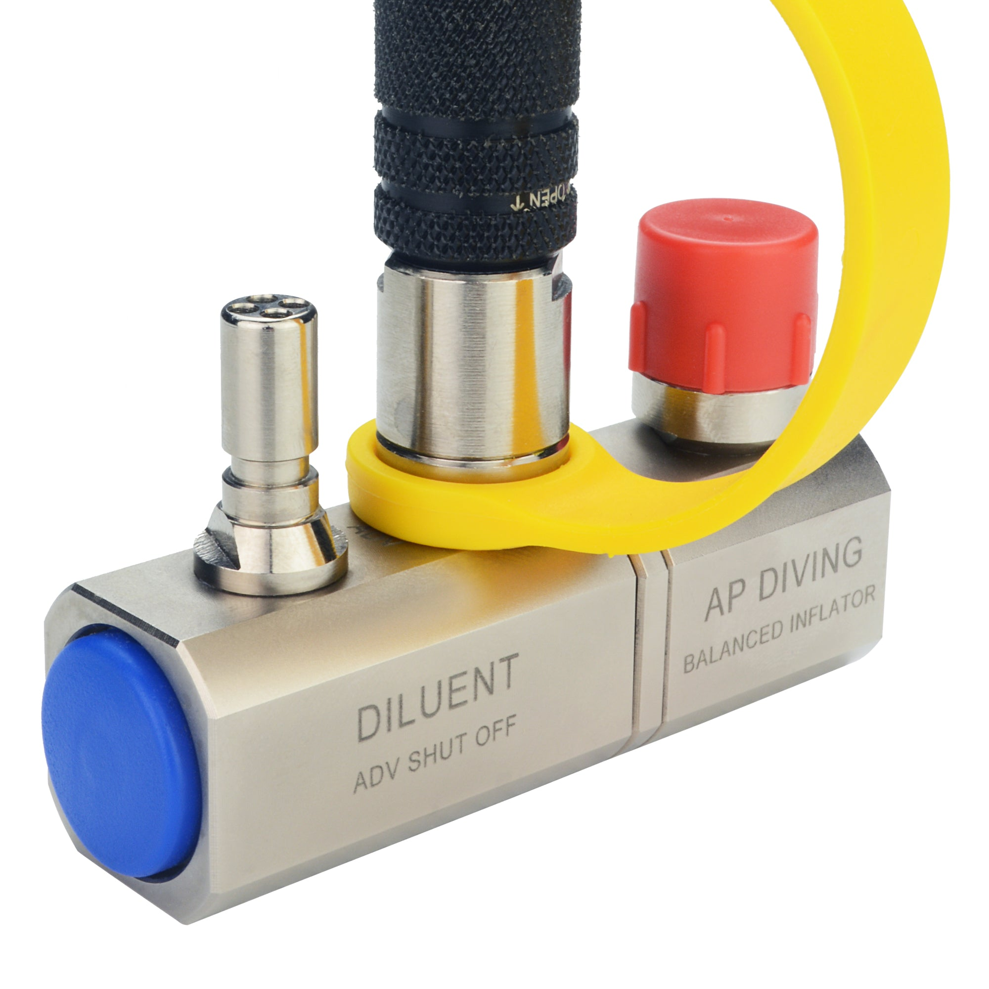 RBV07/SO/35S - Single Diluent Inflator with ADV Shutoff Valve| AP Diving | Silent Diving | Scuba Rebreather