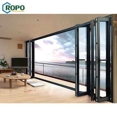 10 Year Warranty Patio Black Aluminum Frame Glass Stack Bifold Door In China on China WDMA