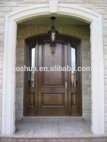 100% mahogany /oak/alder /cherry wood entry door with sidelites on China WDMA