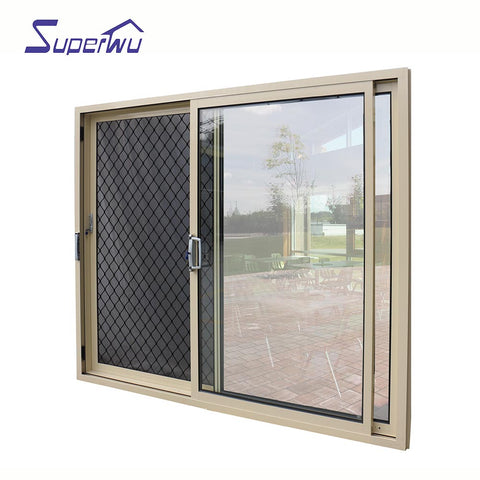 100 series heavy sliding door 1.4mm wall thickness fire rated glass triple panels Aluminium sliding door with air vent on China WDMA