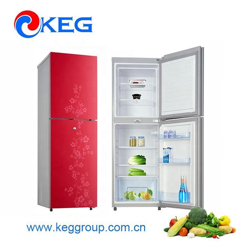 195L 520mm Width Defrost Fashion Flower Glass Door Counter Top Twin Refrigerator and Freezer with Lock and Key Optional on China WDMA