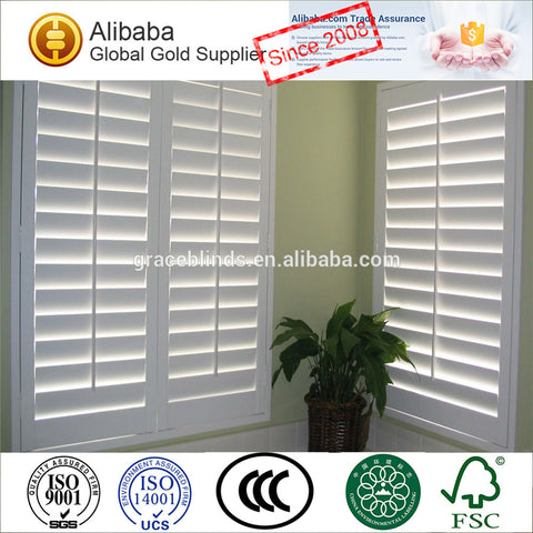 2.5 and 3.5 inches louver PVC or faux wood plantation window shutters with Z-frame on China WDMA