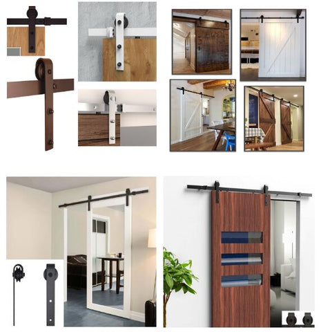 2 ft Sliding Flat Track Barn Door Hardware Kit Set Black Rustic Guide Handle Set For Barn Door on China WDMA
