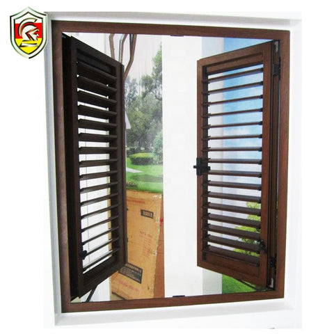 2018 hot sale security luxury jalousie window shutter aluminum wooden louvered windows with AS/NZ2208 on China WDMA