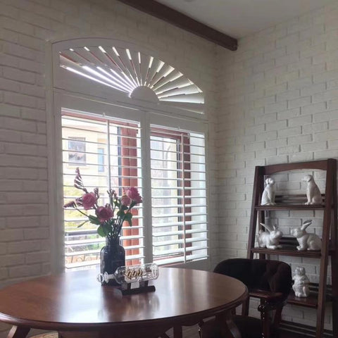 2019 white Arch Design Interior Wooden Window plantation shutter on China WDMA
