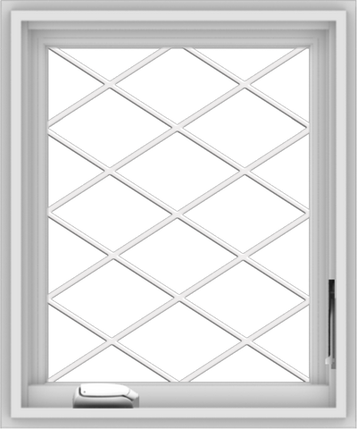 WDMA 20x24 (19.5 x 23.5 inch) White Vinyl uPVC Crank out Casement Window without Grids with Diamond Grills