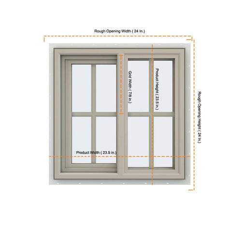 24x24 23.5x23.5 Vinyl Sliding Window With Colonial Grids Grilles