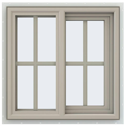 36x36 35.5x35.5 Vinyl Sliding Window Bronze Color With Colonial Grids Grilles