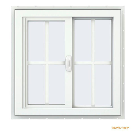 35x35 34.25x34.25 White Vinyl Sliding With Colonial Grids Grilles