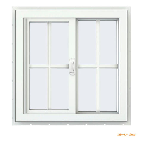 36x36 35.25x35.25 White Vinyl Sliding With Colonial Grids Grilles