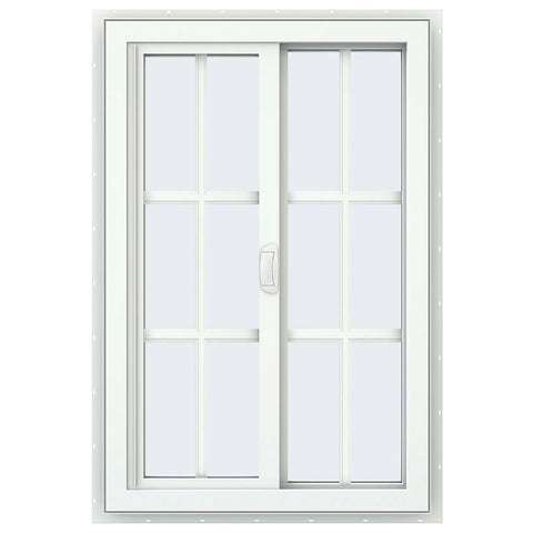 24x36 23.5x35.5 White Color Vinyl Pvc Sliding Window With Colonial Grids Grilles
