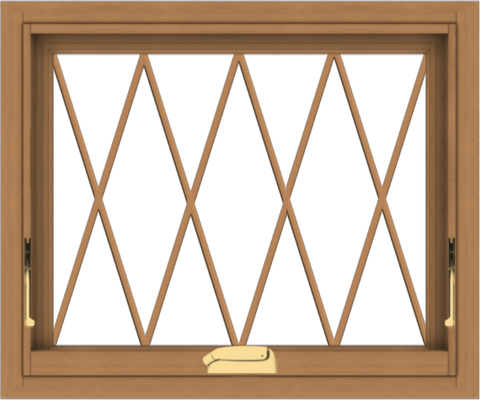 WDMA 24x20 (23.5 x 19.5 inch) Oak Wood Dark Brown Bronze Aluminum Crank out Awning Window without Grids with Diamond Grills