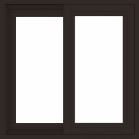 WDMA 24x24 (23.5 x 23.5 inch) Vinyl uPVC Dark Brown Slide Window without Grids Exterior