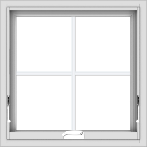 WDMA 24x24 (23.5 x 23.5 inch) White Vinyl uPVC Crank out Awning Window with Colonial Grids Interior