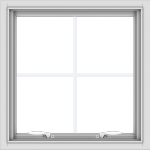 WDMA 24x24 (23.5 x 23.5 inch) White uPVC Vinyl Push out Awning Window with Colonial Grids Interior
