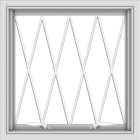 WDMA 24x24 (23.5 x 23.5 inch) White uPVC Vinyl Push out Awning Window without Grids with Diamond Grills