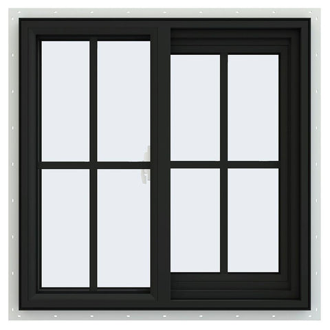 34x34 Black Vinyl Sliding Window With Colonial Grids Grilles