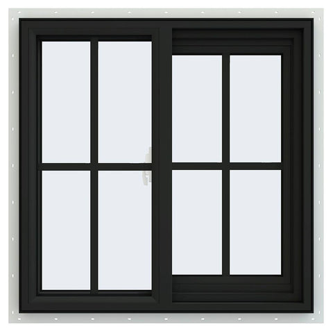36x36 Black Vinyl Sliding Window With Colonial Grids Grilles