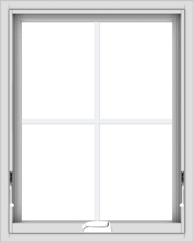 WDMA 24x30 (23.5 x 29.5 inch) White Vinyl uPVC Crank out Awning Window with Colonial Grids Interior