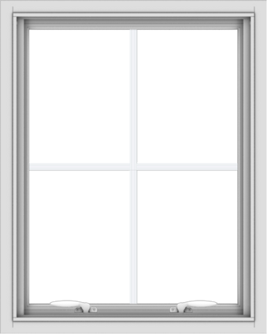 WDMA 24x30 (23.5 x 29.5 inch) White uPVC Vinyl Push out Awning Window with Colonial Grids Interior