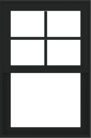 WDMA 24x36 (23.5 x 35.5 inch) Vinyl uPVC Black Single Hung Double Hung Window with Prairie Grids Interior