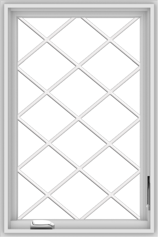 WDMA 24x36 (23.5 x 35.5 inch) White Vinyl uPVC Crank out Casement Window  with Diamond Grills