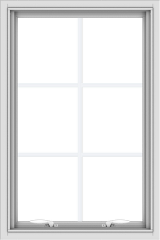 WDMA 24x36 (23.5 x 35.5 inch) White uPVC Vinyl Push out Awning Window with Colonial Grids Interior