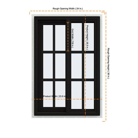 24x36 Black Color Vinyl Sliding Window With Colonial Grids Grilles