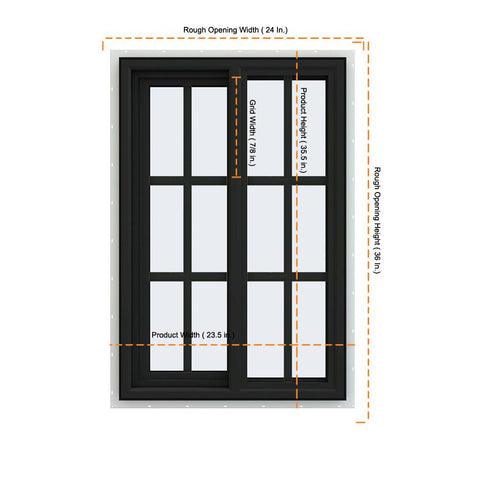 24x36 Bronze Color Vinyl PVC Sliding Window With Colonial Grids Grilles