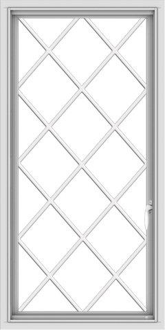 WDMA 24x48 (23.5 x 47.5 inch) uPVC Vinyl White push out Casement Window without Grids with Diamond Grills