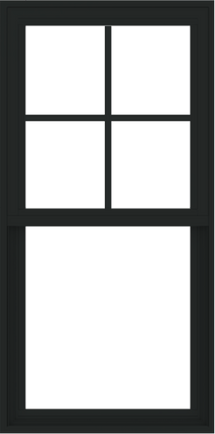WDMA 24x48 (23.5 x 47.5 inch) Vinyl uPVC Black Single Hung Double Hung Window with Prairie Grids Interior
