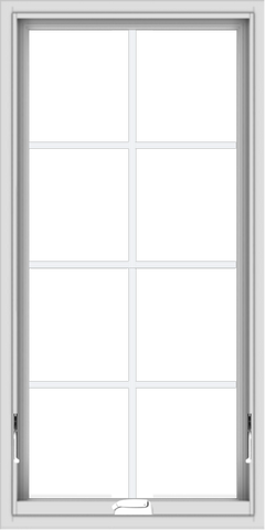 WDMA 24x48 (23.5 x 47.5 inch) White Vinyl uPVC Crank out Awning Window with Colonial Grids Interior