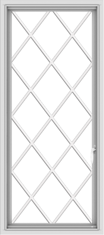 WDMA 24x54 (23.5 x 53.5 inch) uPVC Vinyl White push out Casement Window without Grids with Diamond Grills