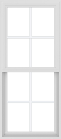 WDMA 24x54 (17.5 x 53.5 inch) Vinyl uPVC White Single Hung Double Hung Window with Colonial Grids Exterior