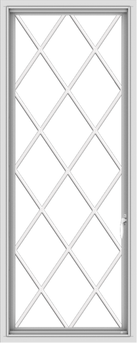 WDMA 24x60 (23.5 x 59.5 inch) White Vinyl uPVC Push out Casement Window without Grids with Diamond Grills