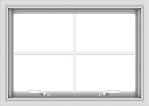 WDMA 28x20 (27.5 x 19.5 inch) White uPVC Vinyl Push out Awning Window with Colonial Grids Interior