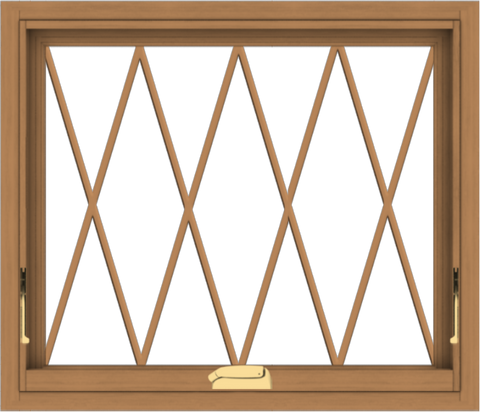 WDMA 28x24 (27.5 x 23.5 inch) Oak Wood Dark Brown Bronze Aluminum Crank out Awning Window without Grids with Diamond Grills