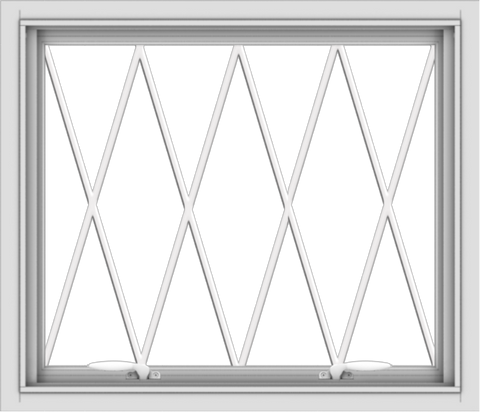 WDMA 28x24 (27.5 x 23.5 inch) White uPVC Vinyl Push out Awning Window without Grids with Diamond Grills