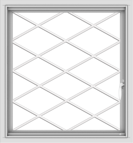 WDMA 28x30 (27.5 x 29.5 inch) Vinyl uPVC White Push out Casement Window  with Diamond Grills